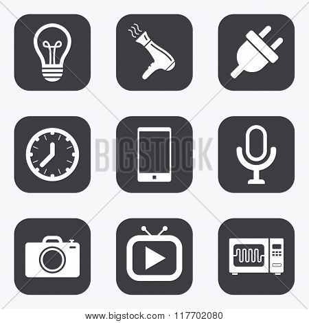 Home appliances, device icons. Electronics sign.