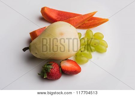 fruit salad or cut fruits, Diet, healthy fruit salad in the white bowl - healthy breakfast, weight l