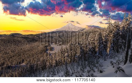 Stormy Winter Vista Of Mount Hood In Oregon, Usa.