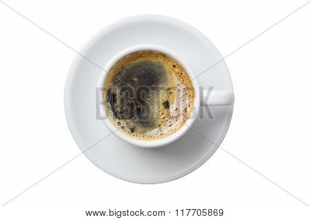 Single Cup Of Coffee Isolated On White