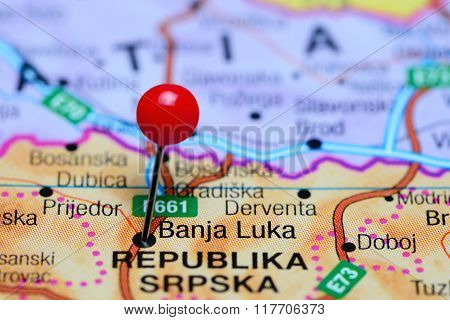 Banja Luka pinned on a map of Bosnia and Herzegovina