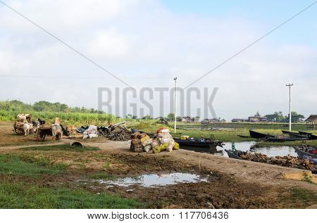 INLE LAKE, MYANMAR - NOVEMBER 02: Burmese sellers offer wood for fuel from the boat at the weekly market on Inle Lake on November 2, 2015 on Inle Lake, Myanmar (BURMA).