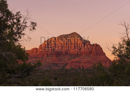 Sunset On The Red Rock Of Arizona