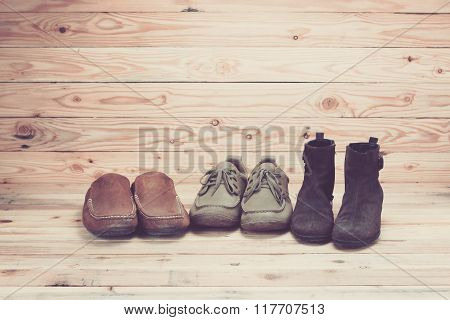 Leather Shoes On Wooden Background