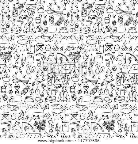 Hand drawn tourism seamless pattern