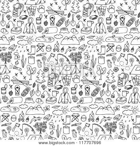 Hand drawn tourism seamless pattern