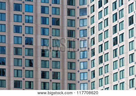 Hotel High Rise Building Windows Closeup