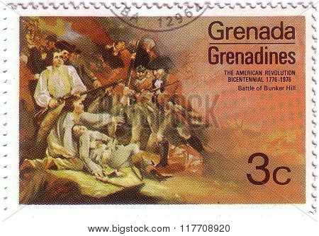 Grenada - Circa 1976: A Stamp Printed In Grenada Shows The Battle At Bunker Hill By Trumbull, Americ