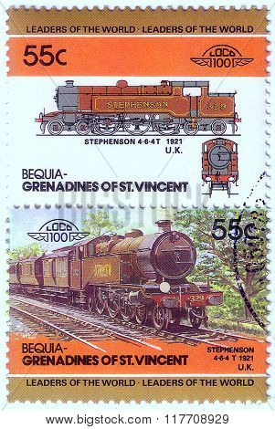 Bequia - Circa 1985: A Stamp Printed In Grenadines Of St. Vincent Shows Stephenson Train 4-6-4T, 192
