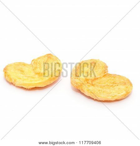 homemade pastry biscuits heart on white background