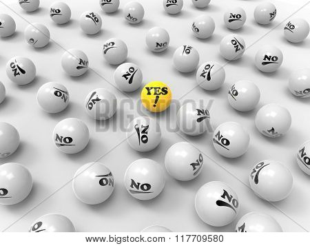 Yes And No Labeled Balls On White Background