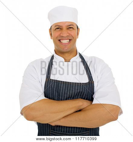 portrait of happy middle aged male chef