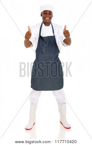 full length portrait of young african american butcher thumbs up