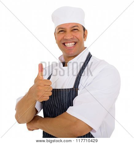 happy mid age butcher thumb up