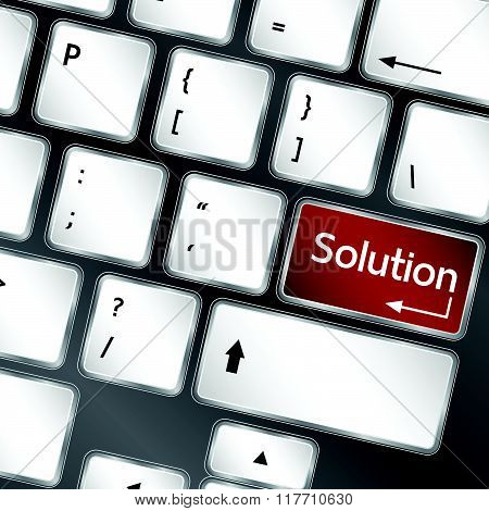 solution button on keyboard of laptop vector illustration