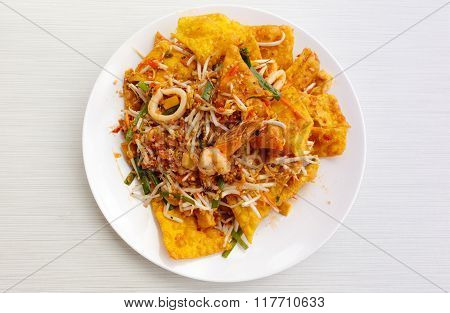 Pad Thai Stir Fried Noodles Of Thailand On White Dish