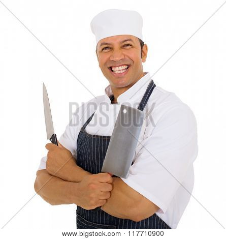 portrait of happy butcher holding knives