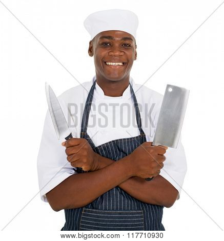 portrait young restaurant chef holding knives