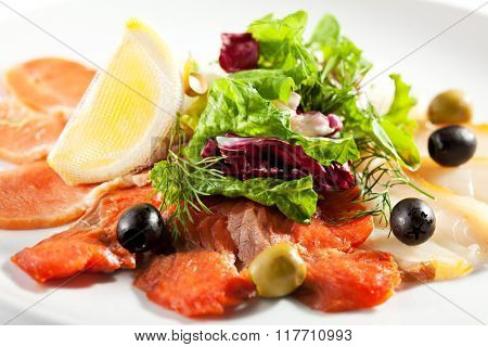 Fish Plate with Salad Leaf