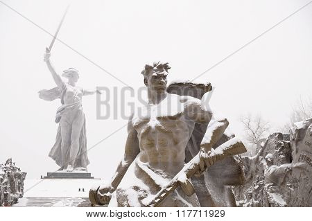 Volgograd, Mamayev Kurgan In The Winter