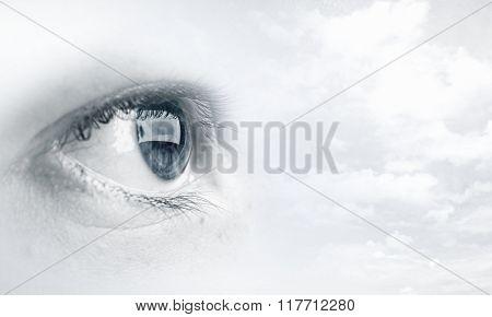 Woman eye in sky