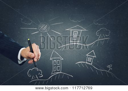 Man designing construction concept