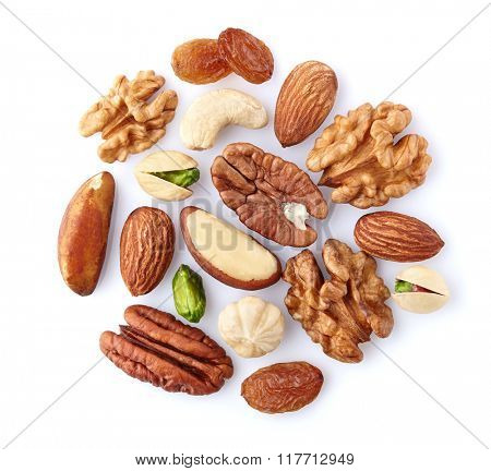 Nuts mix on aa white background