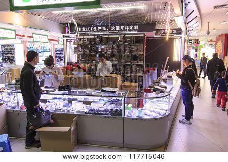 Shenzhen, China - January 18, 2016: Interior Of The Hq Mart One Of The Biggest Mall Selling Electron