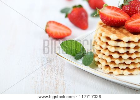 Waffles, Mint And Ripe Strawberries.