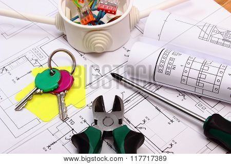 House Of Yellow Paper, Keys, Electrical Box And Construction Drawing