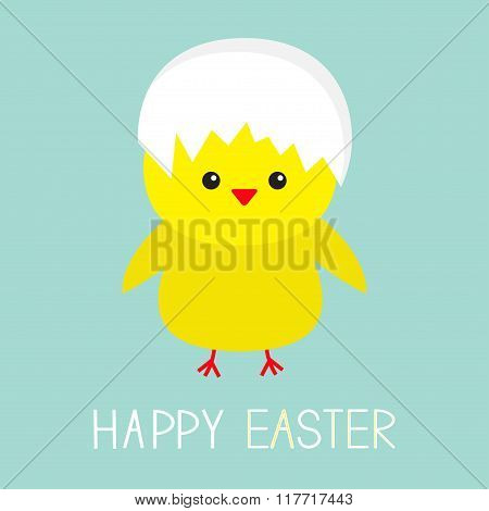 Easter Chicken Egg Shell On Head. Baby Background. Flat Design.