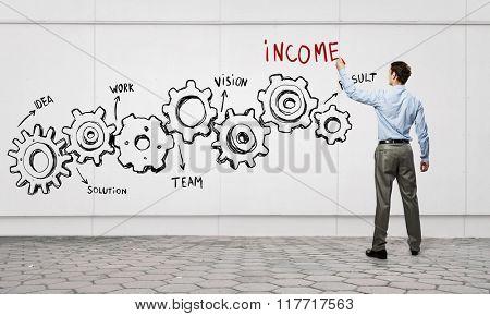 Businessman presenting teamwork concept