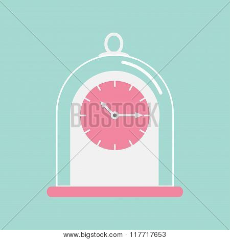 Clock Icon With Glass Cap. Flat Design. Pink Face. Blue Background.