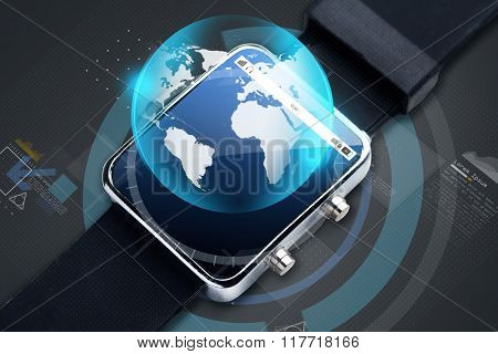 modern technology, object, business and media concept - close up of black smart watch with earth globe hologram