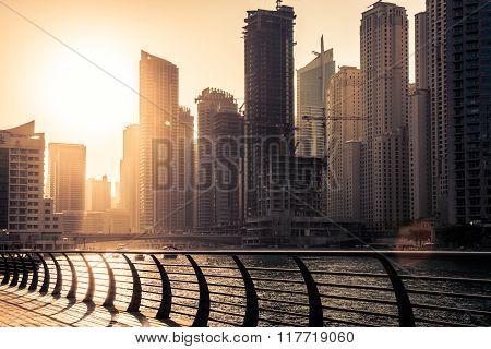 Skyscrapers Silhuette At Sunset In Dubai Marina
