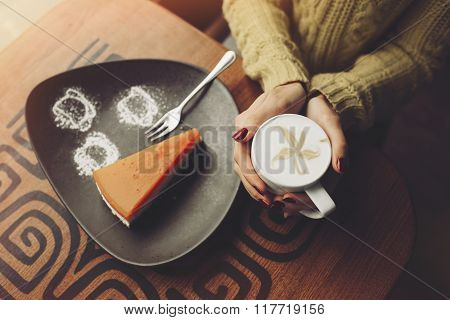 Charming girl drinking cappuccino and eating cheesecake. Hands c