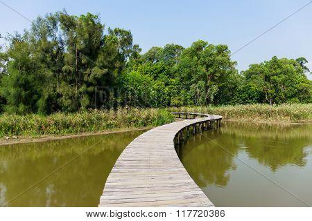 Wooden footbridge across river