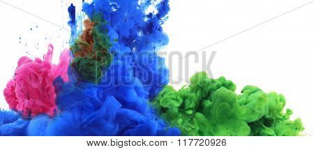 Colors and ink in water. Abstract background.