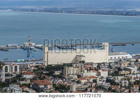 Haifa, Israel - January 2, 2016 :  View of Haifa bay