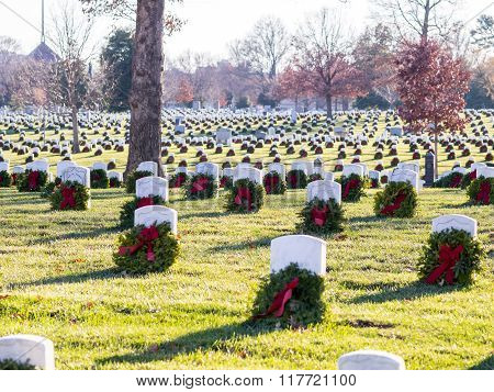 Decorated Tombs In Arlington Cemetery