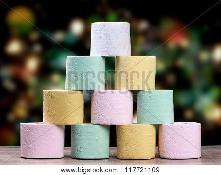 Multi-colored toilet paper
