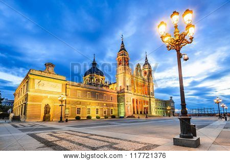 Madrid Spain. Twilight skyline of Santa Maria la Real de La Almudena Cathedral seat of the Roman Catholic Archdiocese of Madrid