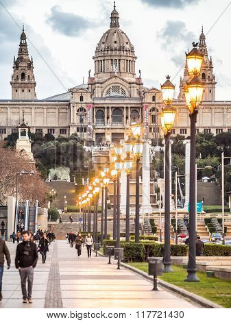 BARCELONA SPAIN - JANUARY 18 2015: Winter evening view of the Palau Nacional (National Palace) in Barcelona who was built for the International Exhibition in 1929.
