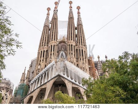 View Of The Sagrada Familia Cathedral