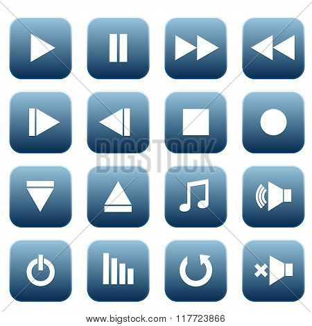 Media Player Icons Set, Vector Illustration