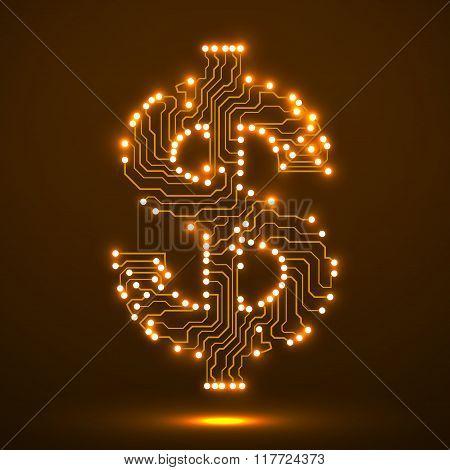 Neon symbol of dollar. Circuit board