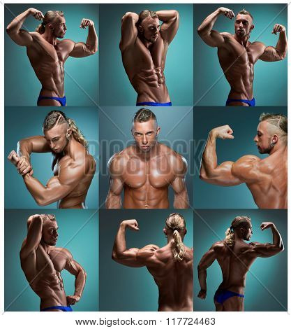 The collage from images of attractive male body builder