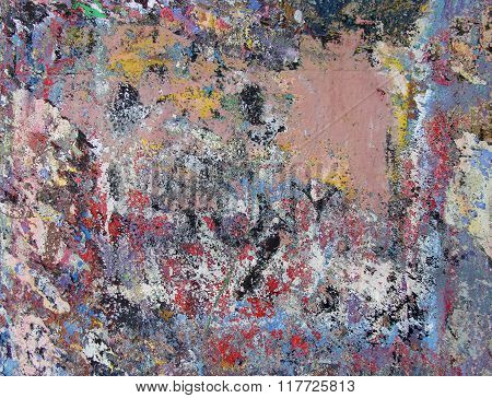 Paint Remains Grunge Wall Background In Many Colors