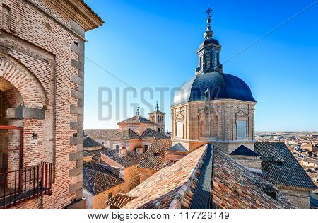 Toledo Spain. View from tower of Jesuit Church dedicated to San Ildefonso built in XVIIth century.