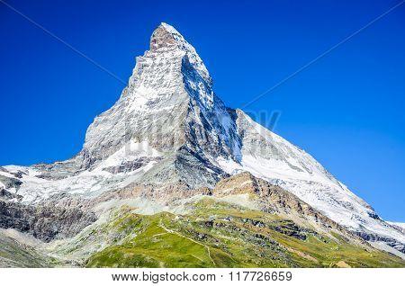 Zermatt Switzerland. Mountain landscape of Matterhorn Monte Cervino (4478 m) a pyramidal peak of Pennine Alps in Swiss country.